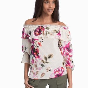 WHBM Off-The-Shoulder Floral Drama Sleeve Blouse